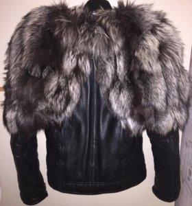 💕Кожанная куртка с натуральным мехом чернобурки