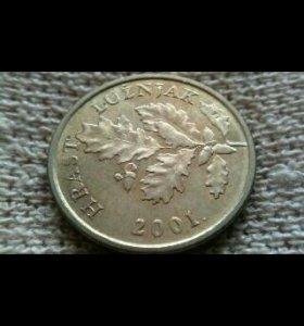 Монета 5 лип 2001 г.Хорватия