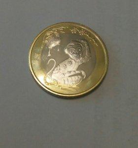 Китай 10 юаней год обезьяны