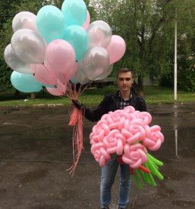 30 шариков и букет роз