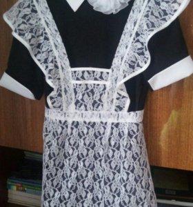 Школьное платье, фартук и бантик в подарок
