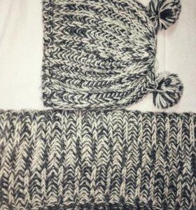 Шапка и шарф женский