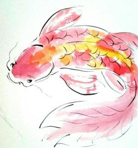 Нежные акварели с рыбками для интерьера
