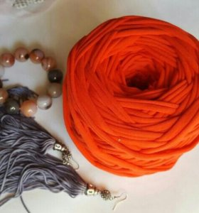 Пряжа трикотажная цвет коралл
