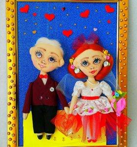 Панно куклы- молодожены.