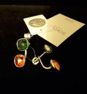 Серьги-пусеты из серебра с кристаллами Swarovski
