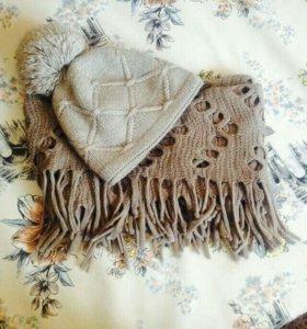 Шапка и шарф хомут зимние