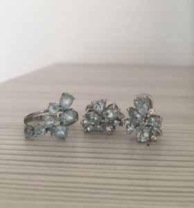 Серебрянные серьги и кольцо