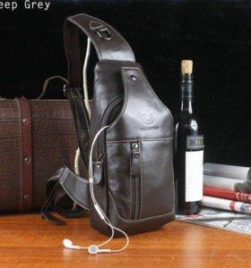Кожаная сумка.мужской рюкзак-кабура!