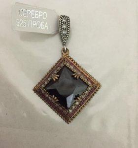 Квадратная серебро с черным драгоценным камнем