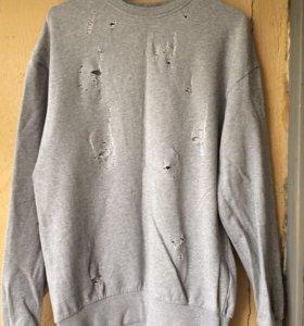 серый oversize свитшот/толстовка/кофта h&m divided