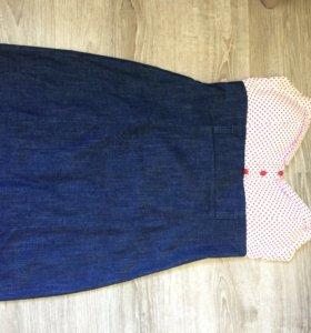 Платье джинсовое с открытой спиной