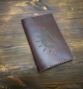 Обложка на паспорт из натуральной кожи.