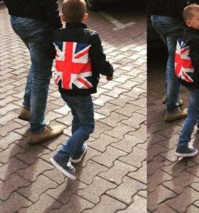Куртка экокожа на флисе детская