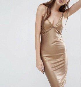Платье металик из искусственной кожи