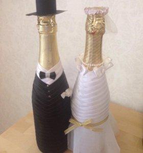 Оформление бутылочек на свадьбу