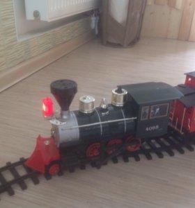 Железная дорога и состав из пяти вагонов