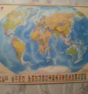 Карта мира России и звездного неба