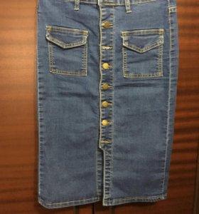 Джинсовая юбка почти новая