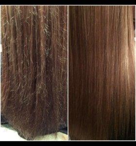 Кератиновое лечение волос!