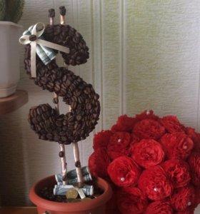 Топиарий, декоративное дерево, украшение интерьера