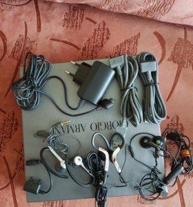 Наушники кабеля и зарядное устройство