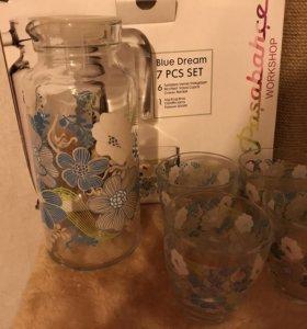 Набор 6 стаканов и кувшин