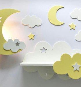 Декор для детской комнаты (полочки, светильники)