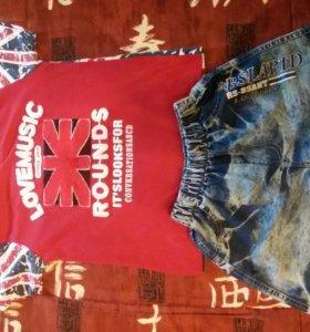 Шорты(джинсовые)+футболка (11-12)
