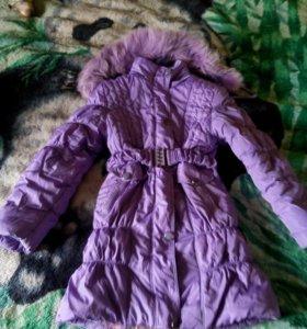Куртка - пальто, примерно 6-10 лет
