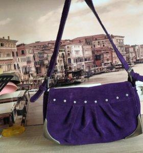 Фиолетовая сумка из натуральной замши