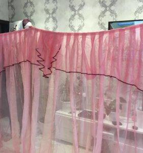 Штора розовая