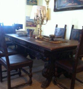 Стол со стульями антикварные
