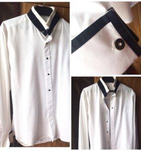 Белая рубашка с чёрными вставками