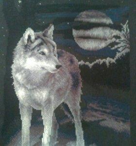 Вышивка ночной волк