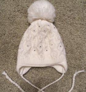 Зимняя шапка на девочку 46-48
