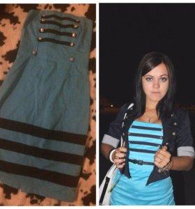 Платье синее, без рукавов