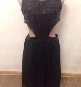 Чёрное платье вечернее новое паетки Англия