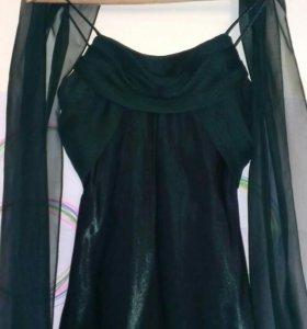 Платье на выпускной темно-зеленое