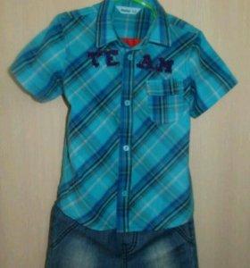 Рубашка, джинсы на 2-4г