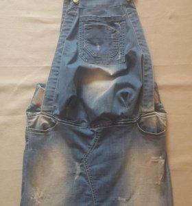 Джинсовый комбинезон-юбка для бепемееной