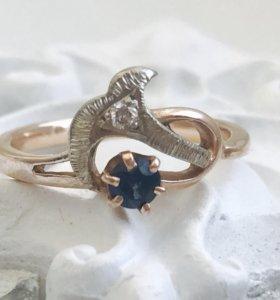 Кольцо золото 585,сапфир,бриллиант