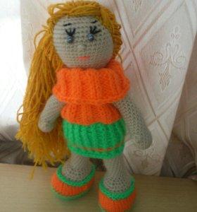 Вязаные игрушки кукла Машенька