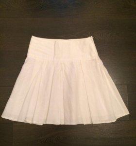 Белая льняная юбка