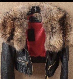 Куртка кожанная ( мех натуральный енот)