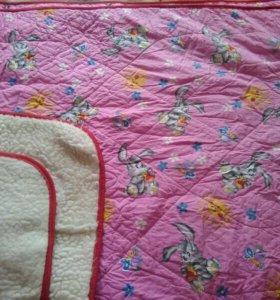 Одеяло детское. Хлопок+шерсть.