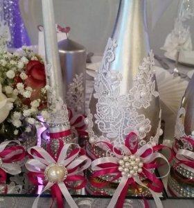 оформление бутылок свадебных