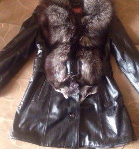 Новая кожаная куртка с чернобуркой