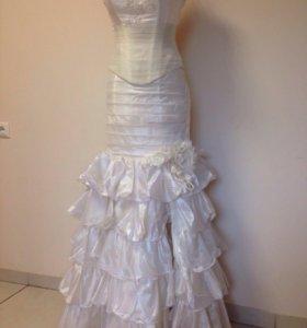 Свадебный комплект:корсет+юбка с разрезом
