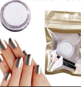 Втирка порошок пыль для ногтей дизайн маникюр